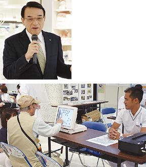 講演する今田院長(上)と初実施の「脳年齢測定」コーナー