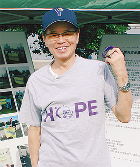 特設ブースを設置し、がん撲滅横浜市会議員連盟の会長として啓発活動