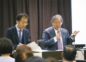 司会を務めた安田医師(左)と登壇した吉田院長