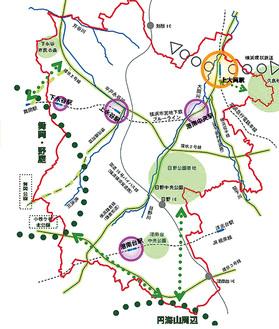 各駅周辺を生活拠点に位置付けられた改定素案の「将来都市構造図」