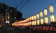 青木神社参道に112個の提灯