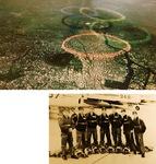 上・東京五輪の開会式を上空から撮影した様子右・当時のブルーインパルスのメンバー。左から4人目が藤縄さん(藤縄さん提供)