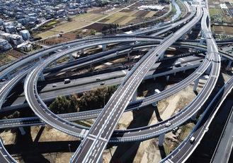 東名高速道路と直結した横浜北西線の横浜青葉JCT=提供・首都高(株)