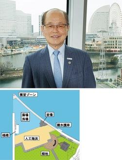 大きな可能性を秘める臨海部を背景に議会棟より(上の写真)。横浜市が示した整備イメージ(下)
