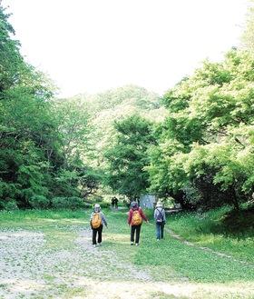 瀬上市民の森で新緑を楽しむ地域住民=4月21日撮影