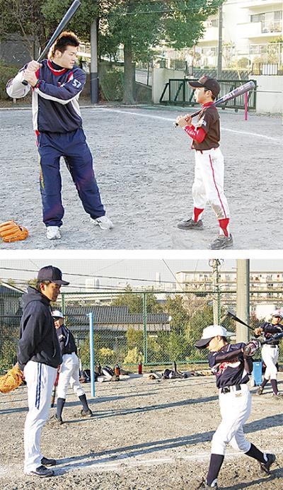 野球少年がプロと交流