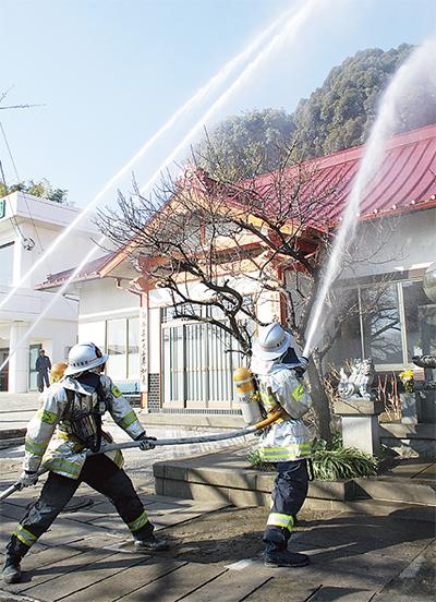 文化財守る防火訓練
