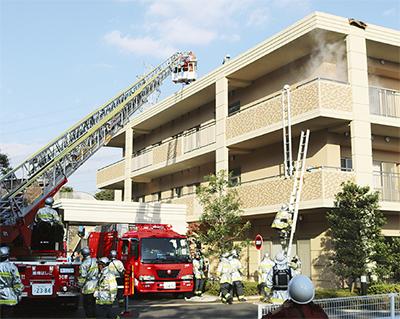 特養で消防総合訓練