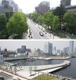 受賞した日本大通り(写真上)と象の鼻地区(下)