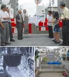立野小児童も参加した除幕式の様子(写真上)覆蓋時の旧千代崎川(右下)蓋かけ前の千代崎川(左下)