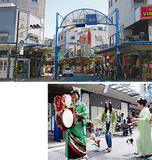 """商店街の通りを歩行者天国にして特設ステージを設ける(写真上)イベント宣伝に懐かしの""""チンドン屋""""も登場(下)"""