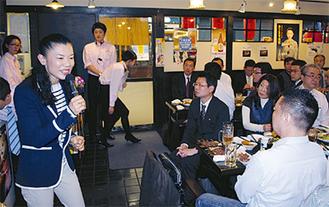 人材育成などを語った石渡さん(左)