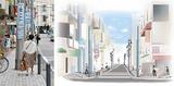 現状は歩道のほぼ中央に電柱があり、車椅子やベビーカーの通行が困難(左)完成後は電柱を移設して余裕のある歩道にするほか、LED街路灯も整備する(右)