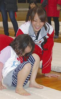田中選手が直接指導。貴重な体験に