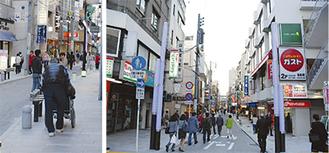 歩道の中央にあった電柱が移設され、車椅子やベビーカーでも通行しやすくなった(左)。商店街の出入り口設置されたウェルカムタワー(右)は港や運河をテーマに3本のマストをイメージ