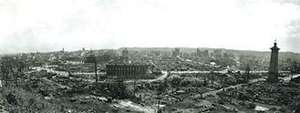 野毛山不動尊から見た羅災地。中央は現在のにぎわい座付近=市史資料室所蔵