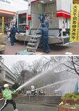 子どもたちは震度7の揺れにフラフラ(中区・上)。軽井沢自治会と消防団、消防署による合同放水訓練(西区・下)