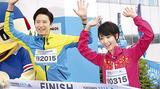 横浜マラソンでは、谷原さんと剛力さんが大会大使に(6月23日)