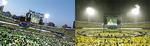 ファンのTシャツで1日目は緑、2日目は黄色一色になったライブ会場
