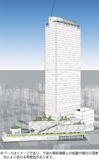 建設予定ビルのパース(市都市整備局提供)