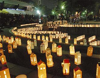 800本のキャンドルが並んだ横浜公園