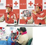 現地の状況を語る中山医師(写真上左)診療支援の様子(下)