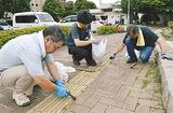 園内を清掃する横浜植木のスタッフ