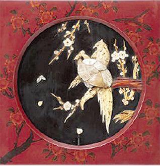 横浜芝山漆器「花鳥図飾額」