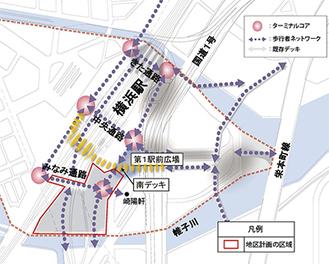 同地区の主な歩行用通路計画(市提供、画像を一部加工)