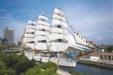 帆を広げる日本丸=同財団提供