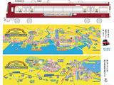 京急によるラッピング電車(最上段)とそれぞれの車内に掲示されるガイドマップ