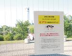 発見現場に近いシンボルタワーに掲示された注意文