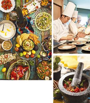 カラフルな色合いと多彩なスパイスが印象的なメキシコ料理は野菜も多く女性に人気。ライブキッチンでは目の前で切り分けるローストビーフも