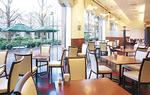 大きな窓から銀杏並木をのぞむ開放的なレストラン。窓側の席は予約必至