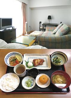 居室(上)と家庭的な食事