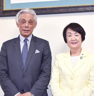 林市長を訪問した近藤新理事長(左)