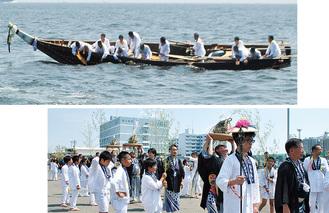 東京湾沖合で「お馬流し」(上)本牧漁港での「頭上奉戴」(右)