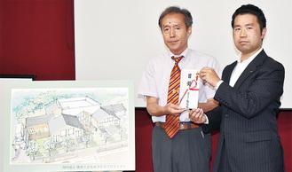 目録の贈呈を受けた「横浜こどもホスピスプロジェクト」の田川代表理事(左)