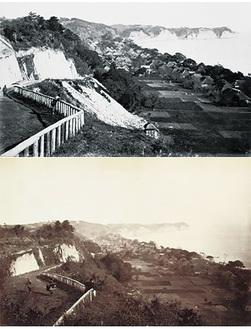 本牧塙の崖が良く写っています。明治3年 横浜開港資料館所蔵