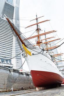 白と赤茶色に塗り分けられた船体