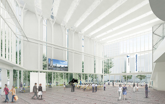 新市庁舎のアトリウム(横浜市提供)