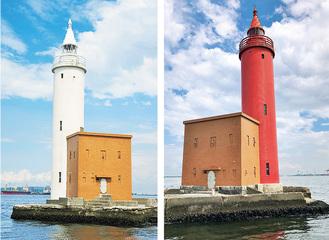 歴史的建造物に認定された灯台。写真左が本牧ふ頭側(横浜市提供)