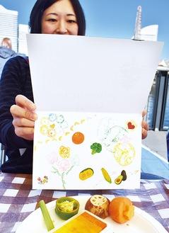 野菜のスタンプでアート。タイトルは「天真爛漫」