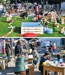 (上)芝生上の遊べるスペースは子どもたちに大人気(下)同時開催の『「ゆたかなイばしょ」廻るアートラウンジ』では工作体験も