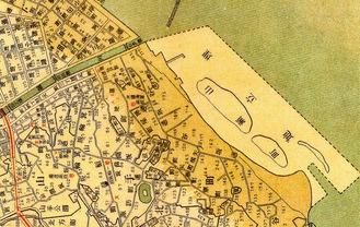 埋立予定地。「山瀬町」と記されています。大正2年(1913年)