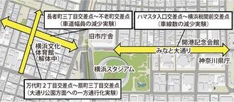 社会実験の区間位置図(横浜市資料より)