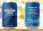 青いラベルが目をひく「横浜ラガー」の缶ビール