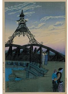 展示作品の一つ、石渡江逸《横浜萬国橋》 1931年多色木版 36・5×24・2cm 横浜美術館蔵