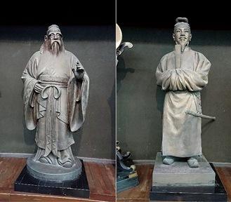 左:孔子像(北村西望作) 右:聖徳太子像(朝倉文夫作)