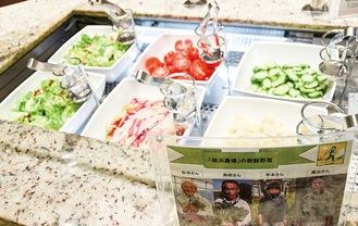横浜野菜生産者の写真付きプレートが掲げられたサラダコーナー